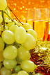 the spanish grapes of luck and glasses with champagne