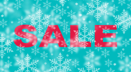 Winter sale with snowflake background