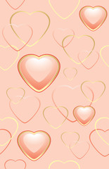 Seamless pink background with hearts for wrapping