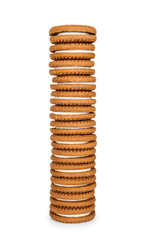 high stack of cookies with cream isolated on white background