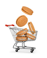 cookies cream falls into the shopping cart. concept of online sh