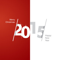 2015 Happy New Year red white gray background