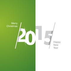 2015 Happy New Year green white gray background