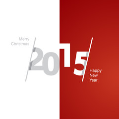 2015 Happy New Year gray white red background