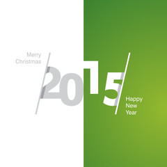 2015 Happy New Year gray white green background