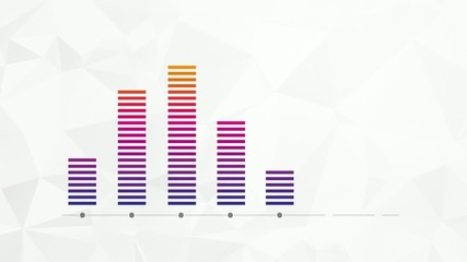 increasing color bar graph on paper background