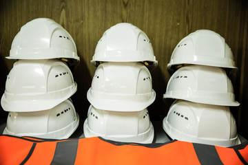 Stack of workers' helmets