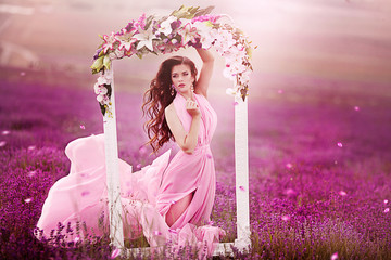 Beautiful woman on lavender meadow - Stock Image