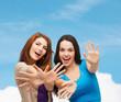 smiling teenage girls having fun