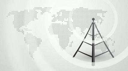 transmitters emitting radio waves on the world map