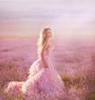 beautiful magic bride in lavender field
