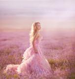 Fototapety beautiful magic bride in lavender field