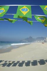 Brazilian Flag Bunting Ipanema Beach Rio Brazil