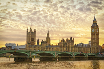London, Westminster at sunset