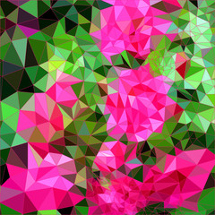 Abstract triangle background, blooming rosebush