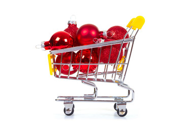 Christmas toys in shopping cart