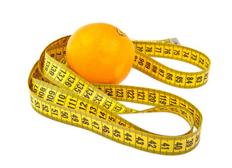 Orange and tape measure isolated on white