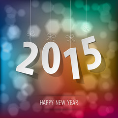 Happy New Year 2015 rainbow bokeh