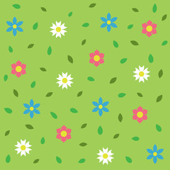 Seamless pattern with wildflowers. Vector illustration.