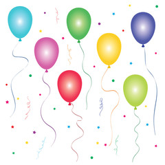 Bright balloons and confetti on white background.