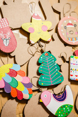 Cardboard toys for the Christmas tree or garland. New year