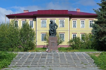 Monument of Mikhail Lomonosov in the village Lomonosovo, Russia