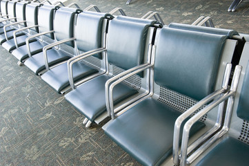 Row of Empty Seats in Airport