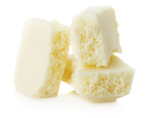 White aerated chocolate isolated on the white background