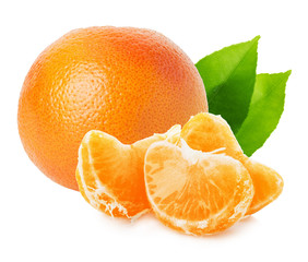 tangerines with leaves isolated on the white background