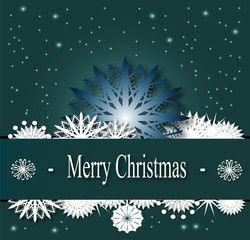 merry christmas card with  text winter theme