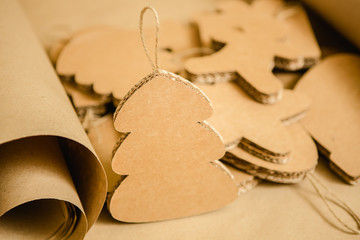 Cardboard toys for the Christmas tree or garland. Creative