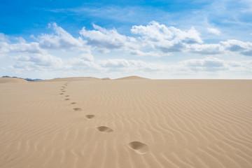 Foot print  in sand dunes in Viana desert - Deserto de Viana in