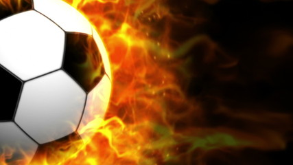 Fiery Soccer Ball Background with Alpha Channel