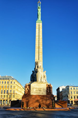 Freedom monument with honour guard in Riga, Latvia