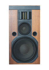 Loud speaker with black grills and solid wood finish isolated