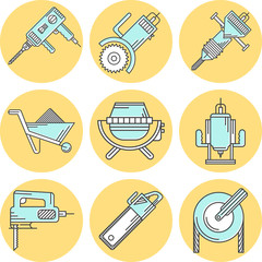 Flat line colored icons for construction equipment