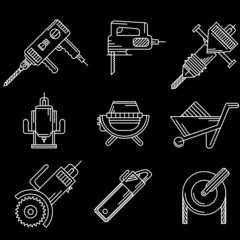 White outline icons for construction equipment