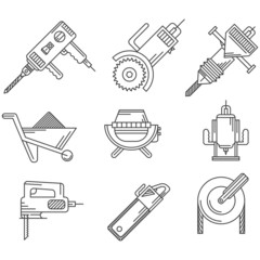 Black outline icons for construction equipment
