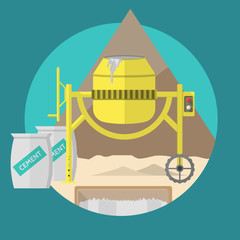 Flat illustration for construction site. Concrete mixer