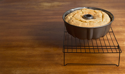 Bundt cake cooling  with Copy Space