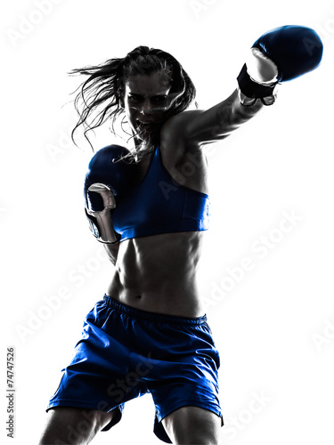woman boxer boxing kickboxing silhouette isolated - 74747526