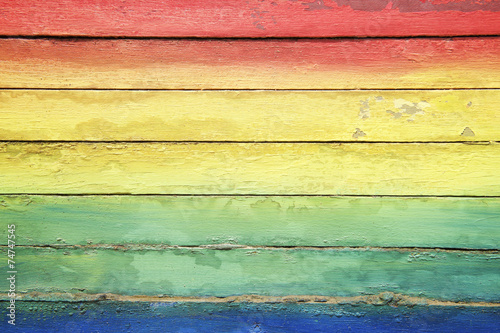 Rainbow Colors Painted on Weathered Wood