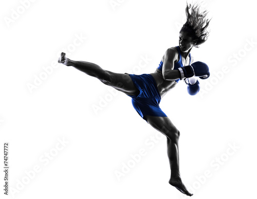 woman boxer boxing kickboxing silhouette isolated - 74747772