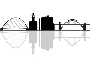 Newcastle in England city skyline silhouette vector illustration