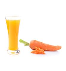 Orange juice and carrot  on white