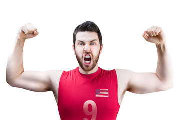 American volleyball player celebrates on white background