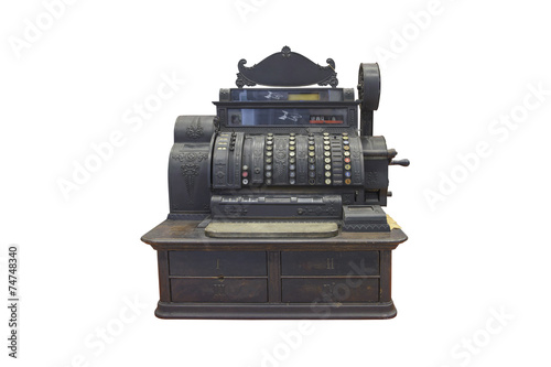Poster Retro antique cash register isolated on white background