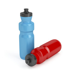 Blue and red plastic bottles