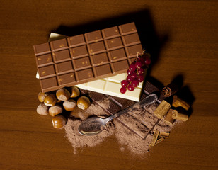 Chocolate bar assortment with hazelnut, red currant and cinnamon