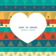 Vector vibrant ikat stripes heart silhouette pattern frame